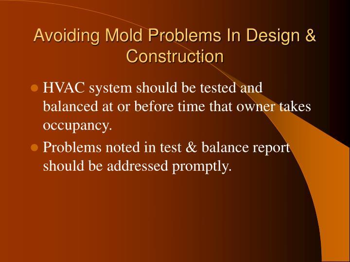 Avoiding Mold Problems In Design & Construction