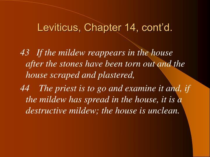 Leviticus, Chapter 14, cont'd.