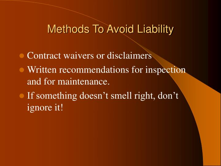 Methods To Avoid Liability