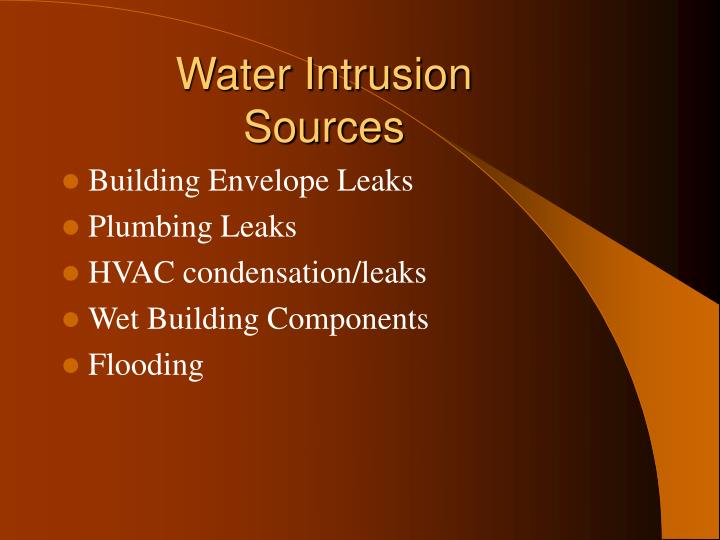 Water Intrusion Sources
