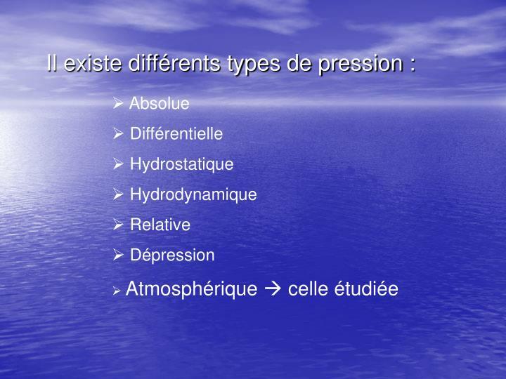 Il existe différents types de pression :