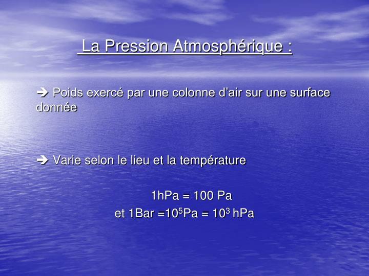 La Pression Atmosphérique :