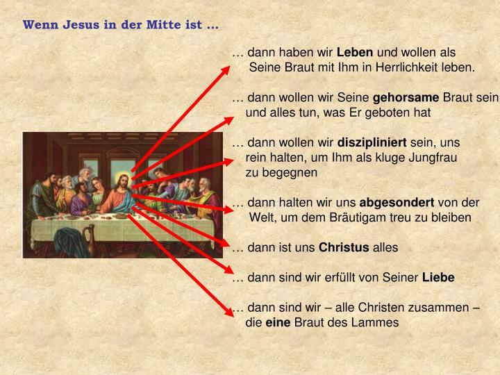 Wenn Jesus in der Mitte ist …