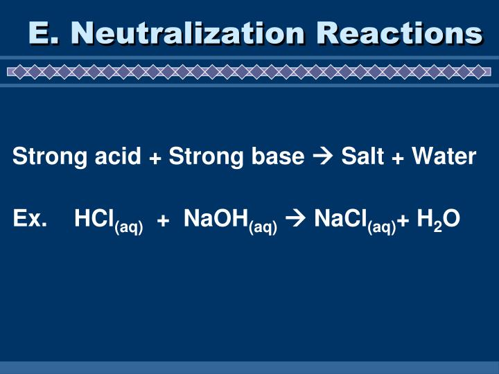 E. Neutralization Reactions