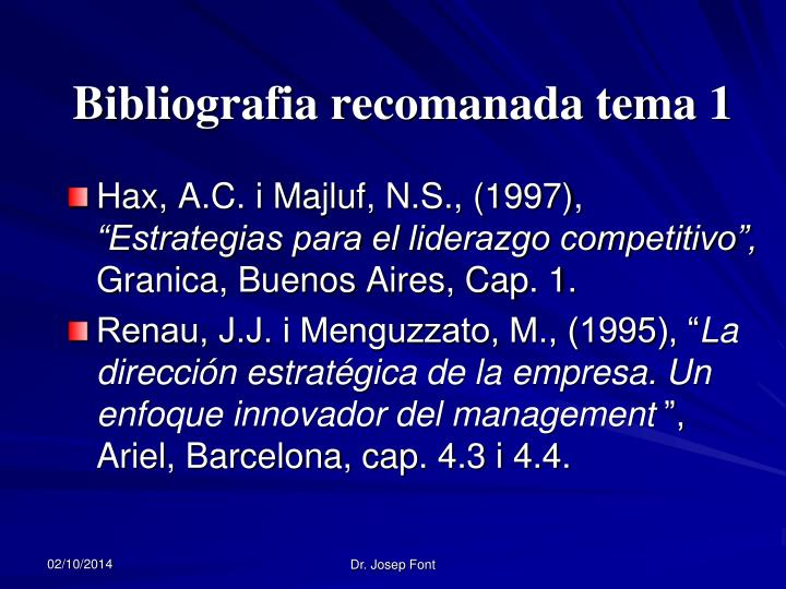 Bibliografia recomanada tema 1