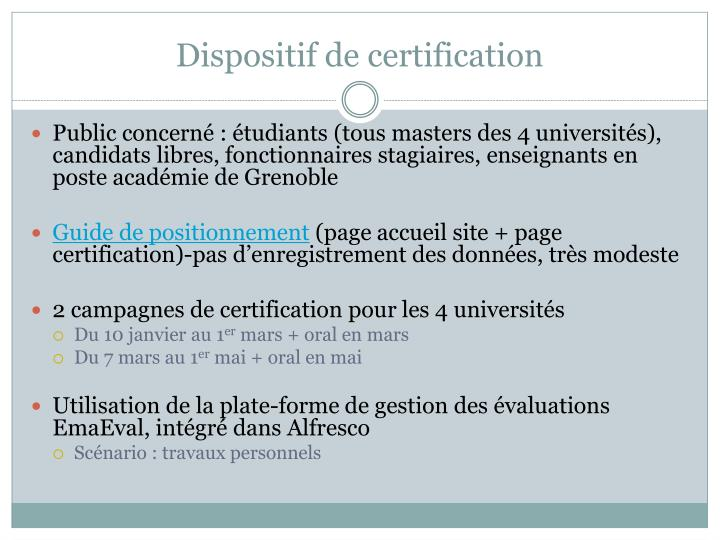 Dispositif de certification