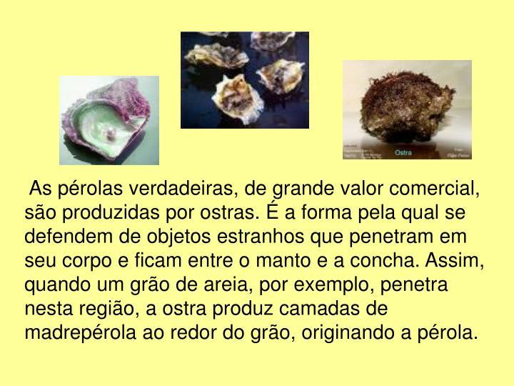 As pérolas verdadeiras, de grande valor comercial, são produzidas por ostras. É a forma pela qual se defendem de objetos estranhos que penetram em seu corpo e ficam entre o manto e a concha. Assim, quando um grão de areia, por exemplo, penetra nesta região, a ostra produz camadas de madrepérola ao redor do grão, originando a pérola.