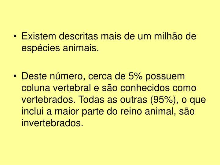 Existem descritas mais de um milhão de espécies animais.