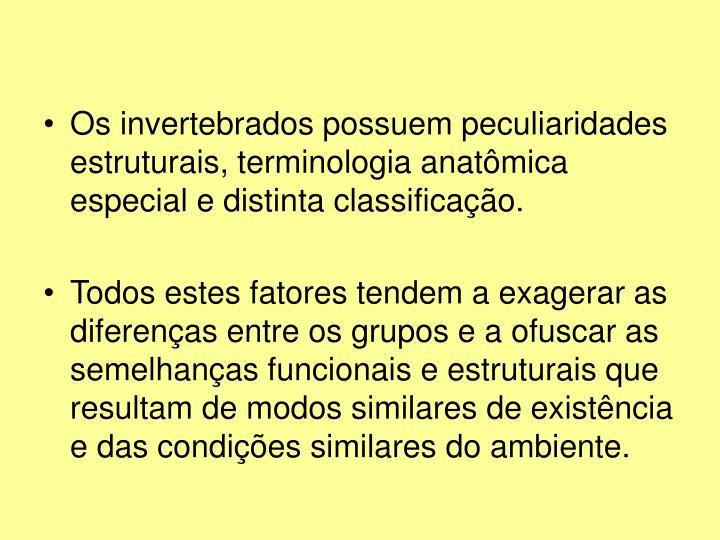 Os invertebrados possuem peculiaridades estruturais, terminologia anatômica especial e distinta classificação.