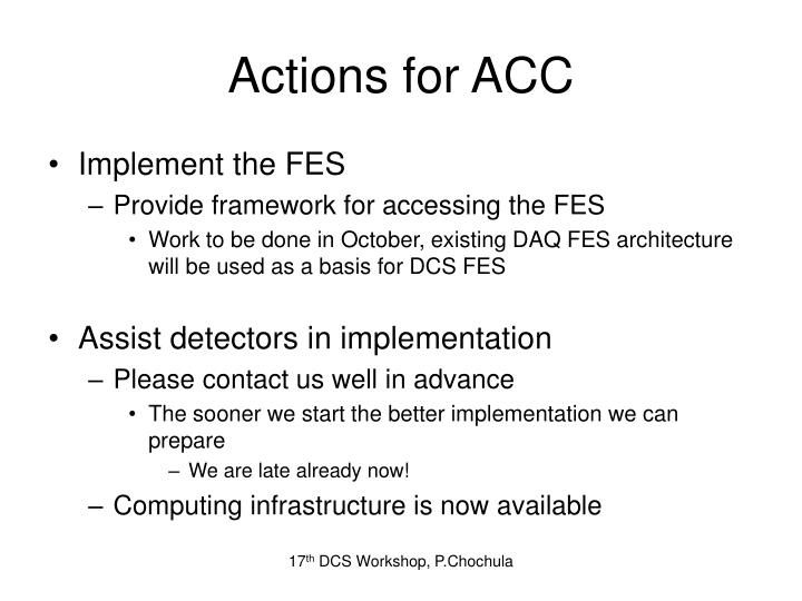 Actions for ACC