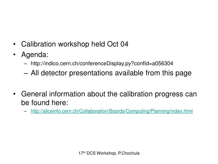 Calibration workshop held Oct 04