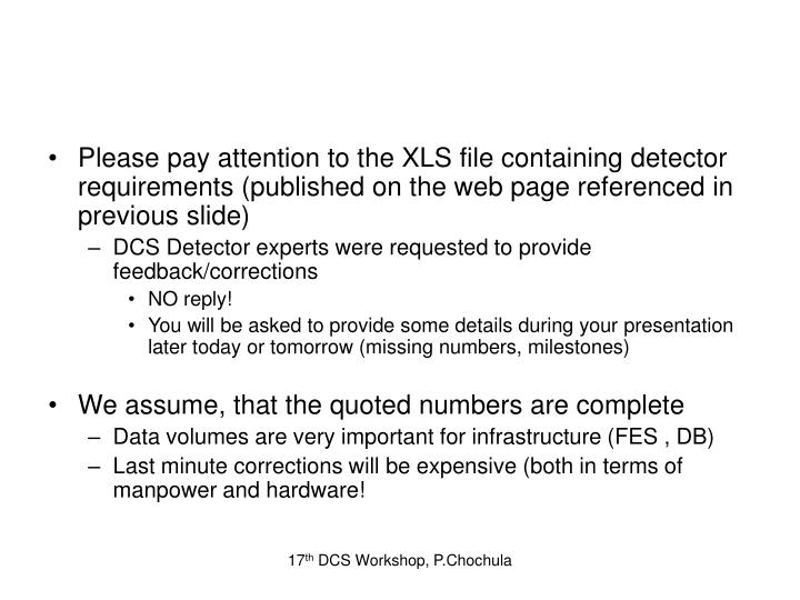 Please pay attention to the XLS file containing detector requirements (published on the web page ref...