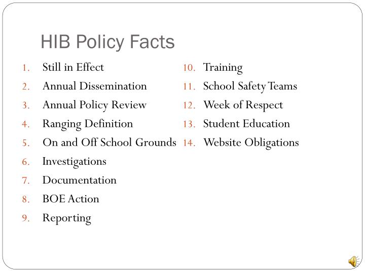 Hib policy facts