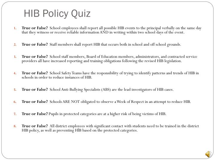 HIB Policy Quiz