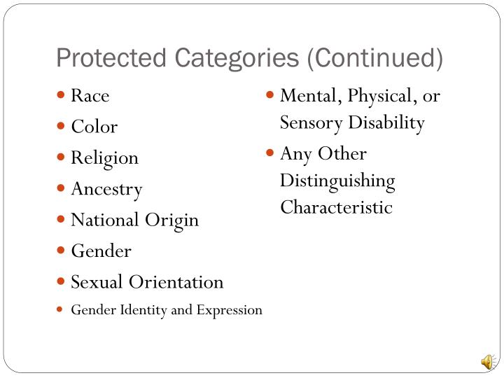 Protected Categories (Continued)