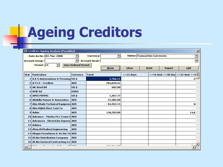 Ageing Creditors