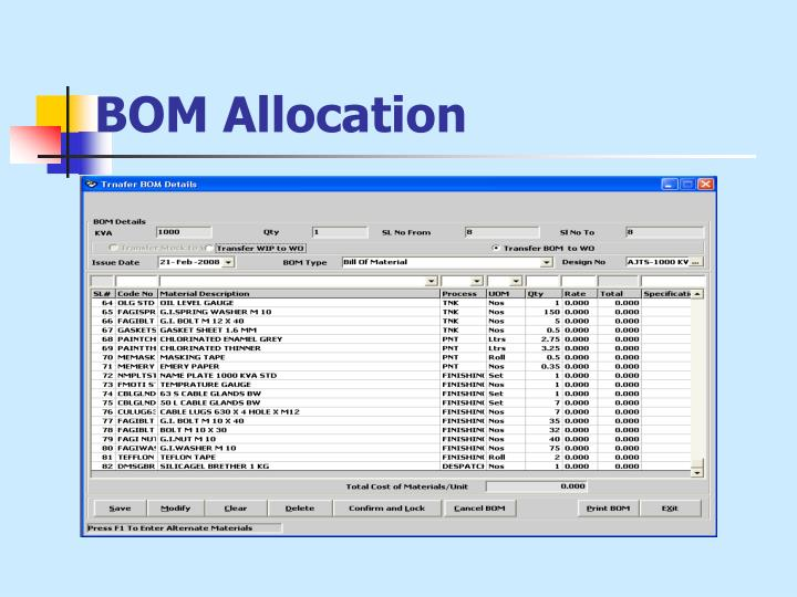 BOM Allocation