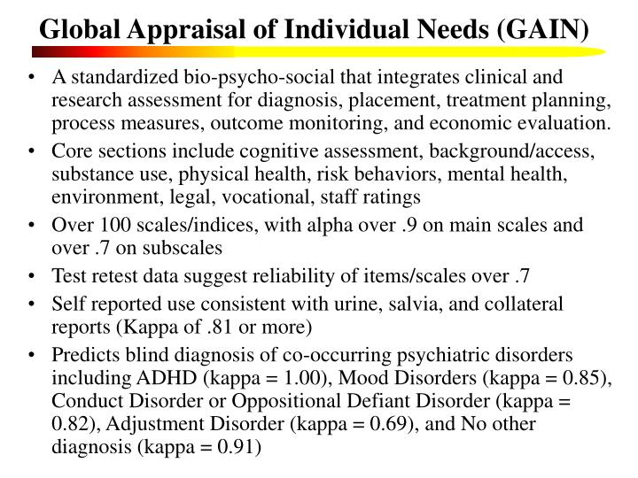 Global appraisal of individual needs gain