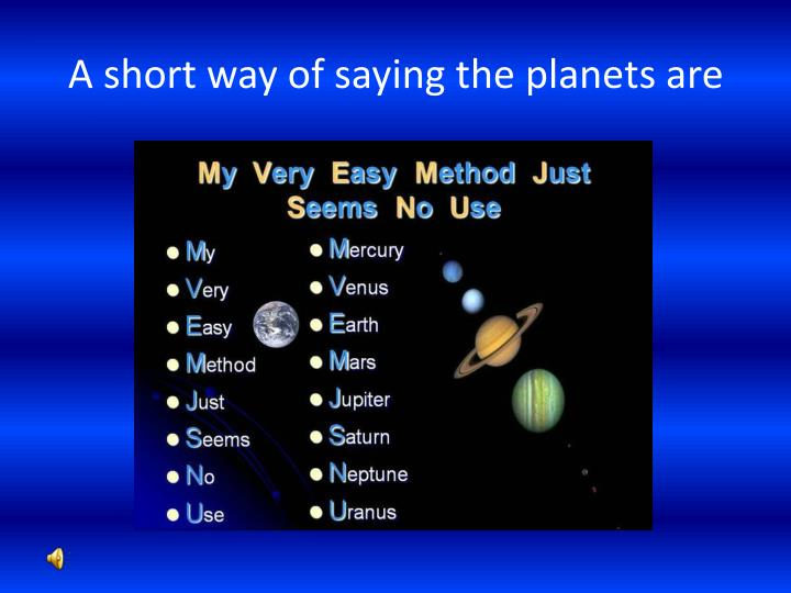 A short way of saying the planets are