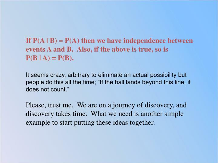 If P(A | B) = P(A) then we have independence between events A and B.  Also, if the above is true, so is              P(B | A) = P(B).