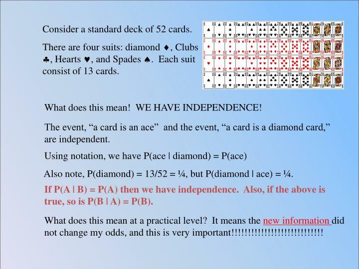 Consider a standard deck of 52 cards.