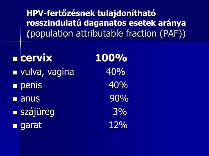 HPV-fertőzésnek tulajdonítható