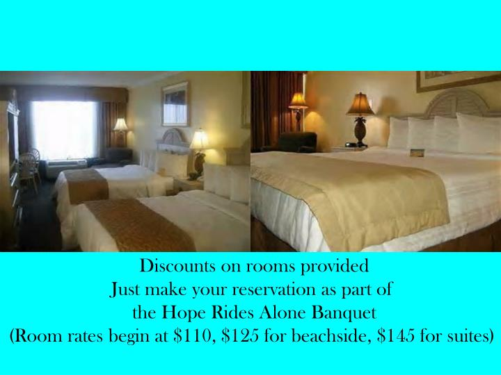 Discounts on rooms provided