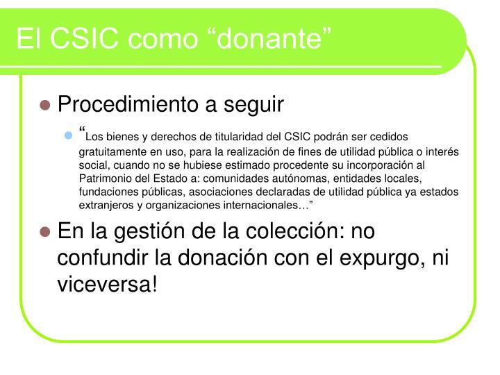 """El CSIC como """"donante"""""""