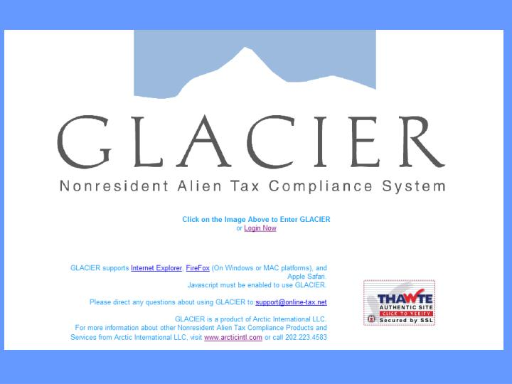 Glacier and tax withholding on student accounts