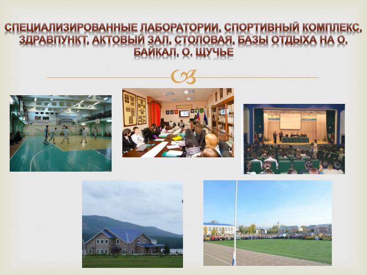 Специализированные лаборатории, спортивный комплекс, здравпункт, актовый зал, столовая, базы отдыха на о. Байкал, о. Щучье
