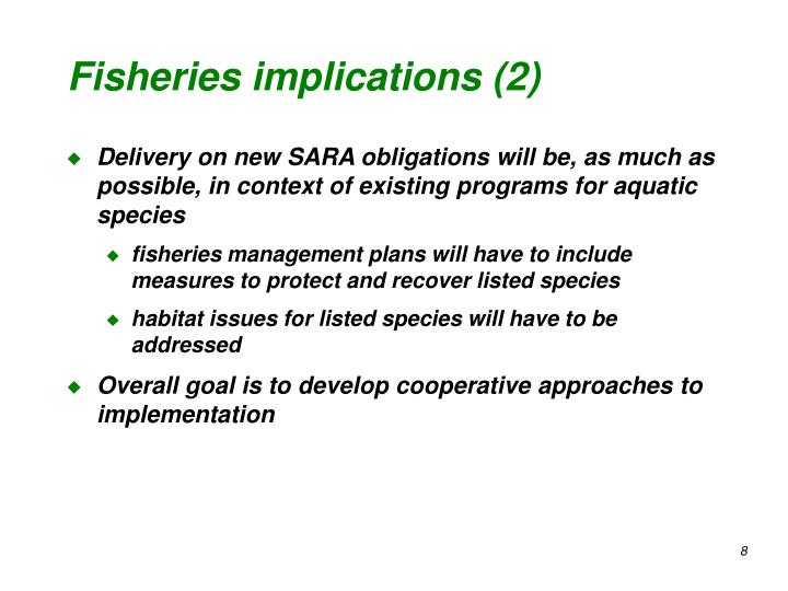 Fisheries implications (2)