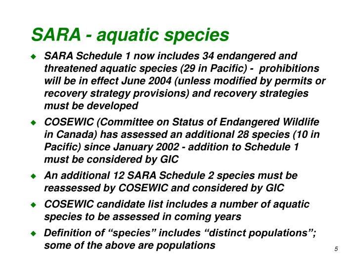 SARA - aquatic species