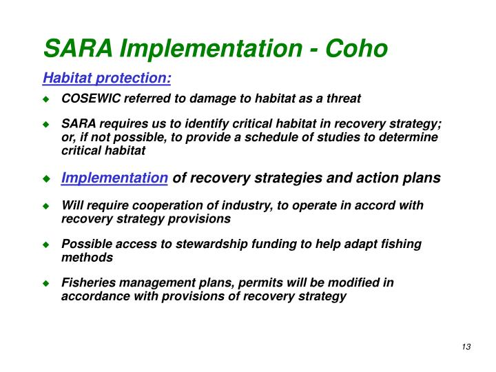 SARA Implementation - Coho