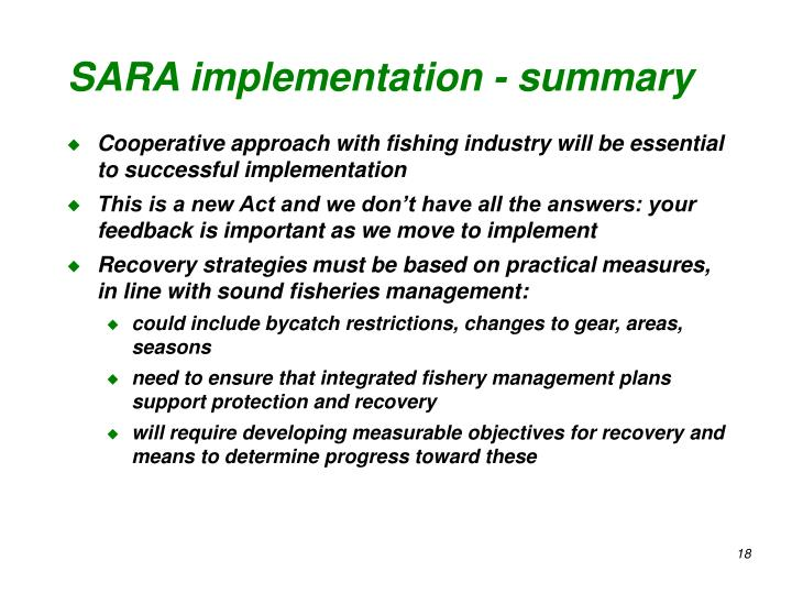 SARA implementation - summary