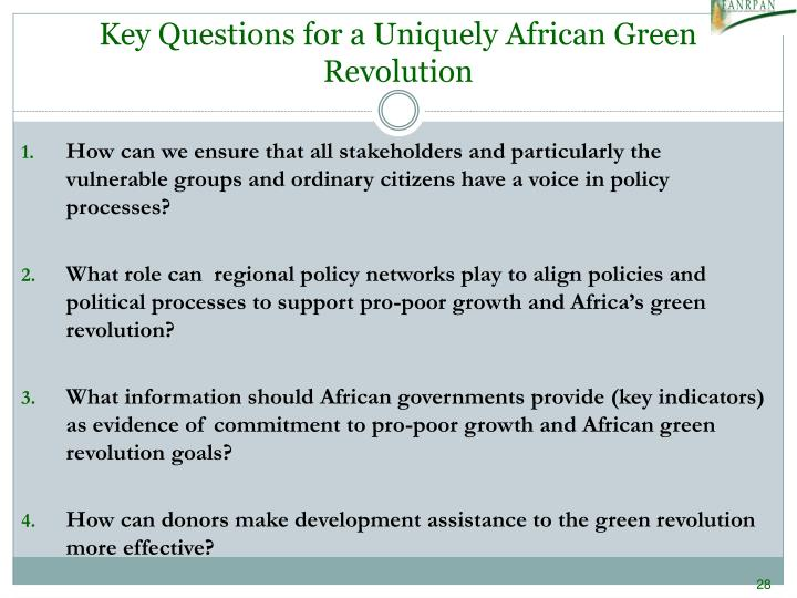 Key Questions for a Uniquely African Green Revolution