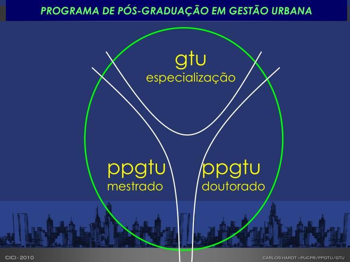 PROGRAMA DE PÓS-GRADUAÇÃO EM GESTÃO URBANA
