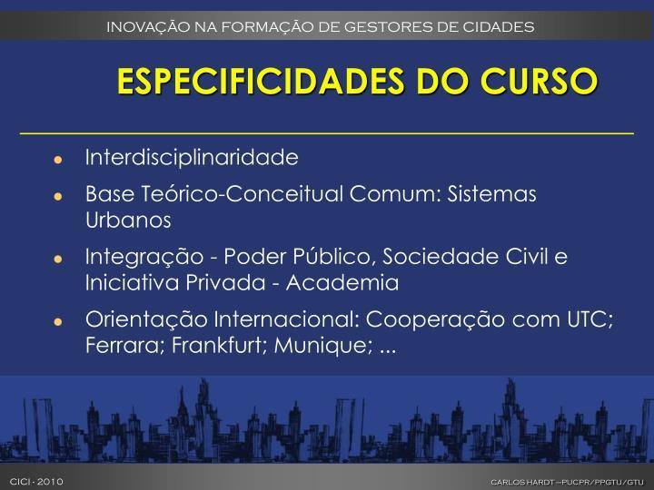 ESPECIFICIDADES DO CURSO