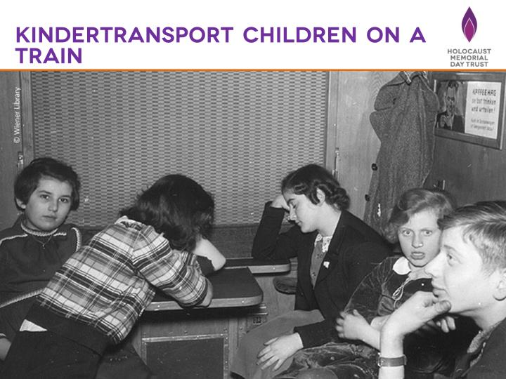 Kindertransport children on a train