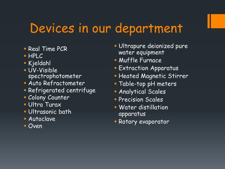 Devices in our department
