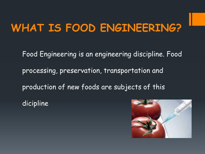 WHAT IS FOOD ENGINEERING?