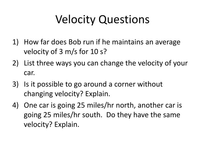 Velocity Questions