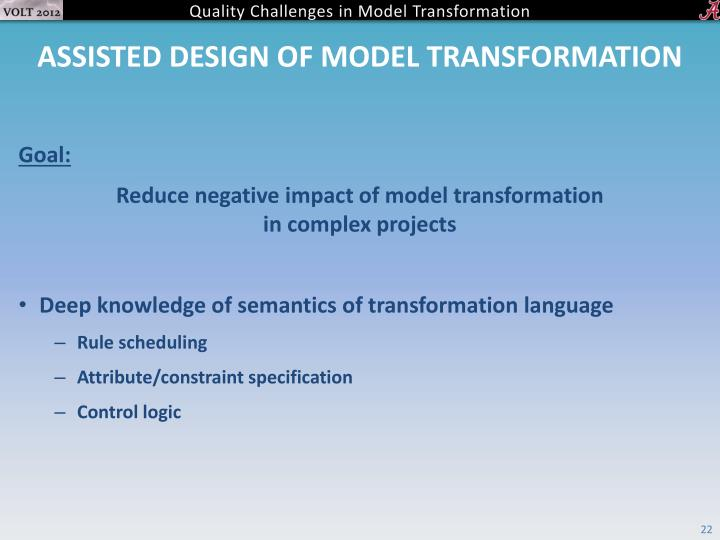 ASSISTED DESIGN OF MODEL TRANSFORMATION