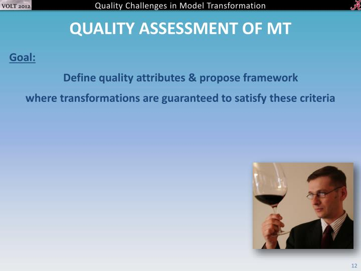 Quality assessment of MT