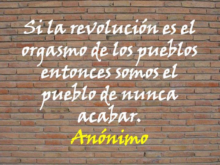 Si la revolucin es el orgasmo de los pueblos entonces somos el pueblo de nunca acabar.