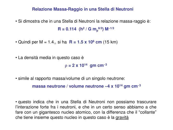 Relazione Massa-Raggio in una Stella di Neutroni