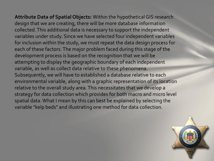 Attribute Data of Spatial Objects: