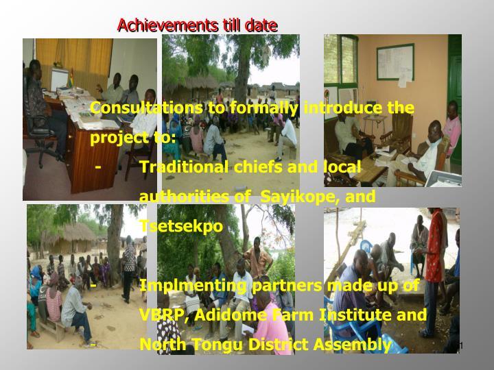 Achievements till date
