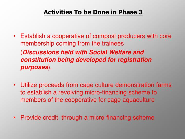 Activities To be Done in Phase 3