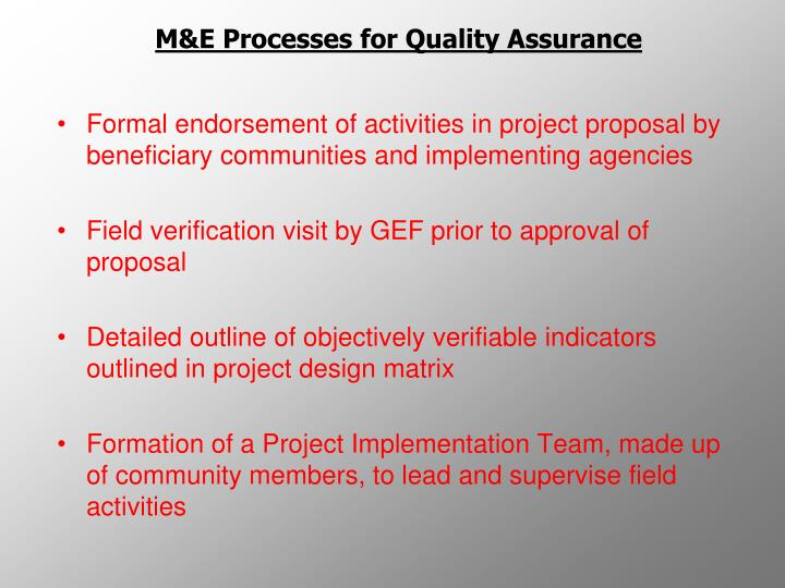 M&E Processes for Quality Assurance