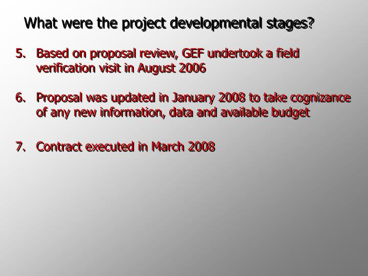 What were the project developmental stages?